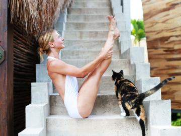 Haciendo yoga con su gato