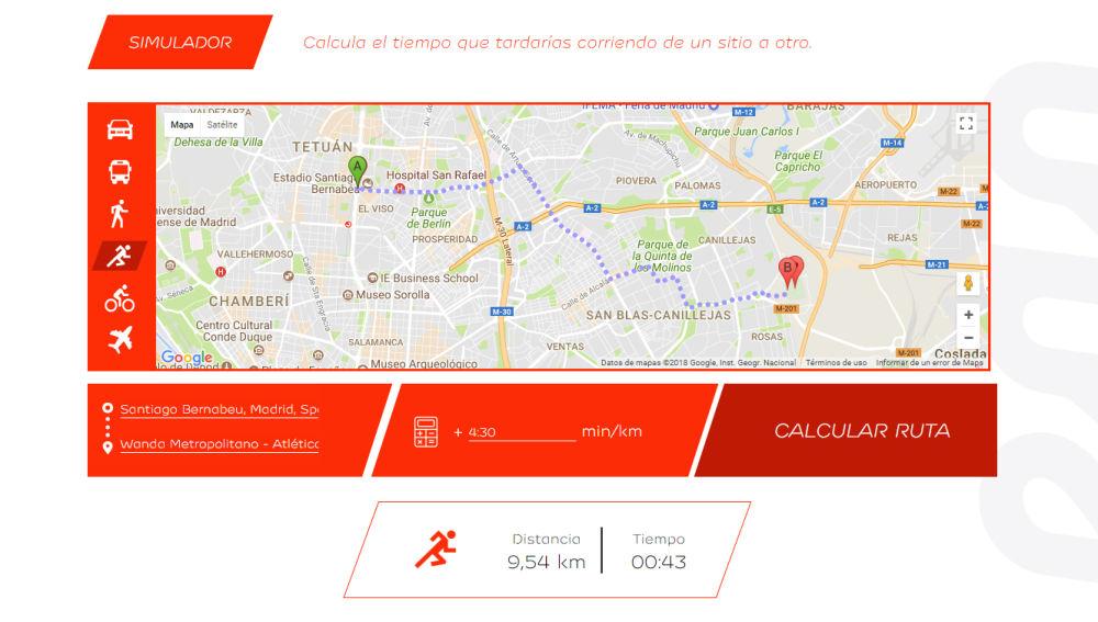 43 minutos del Bernabéu al Metropolitamo corriendo a 4:30 min/km.