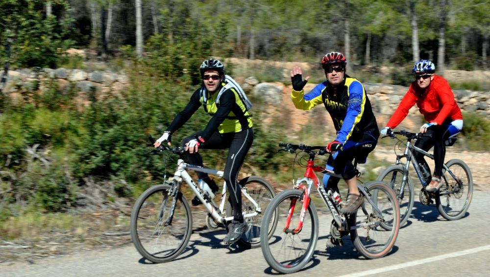 Ciclistas entrenando en grupo