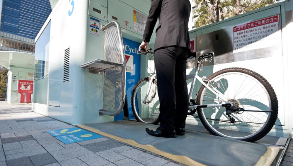 La entrada al parking subterráneo de las bicis