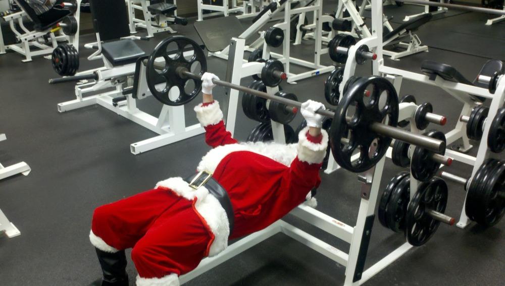 Santa Claus haciendo deporte