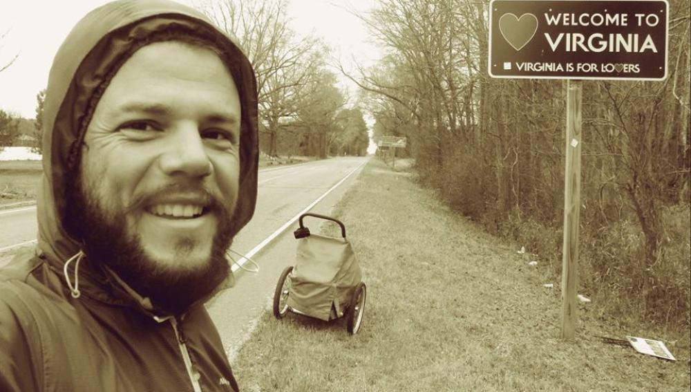 Nacho Dean entrando al estado de Virginia (EEUU)