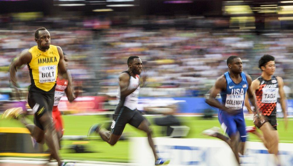 Usain Bolt en los Mundiales de Atletismo de Londres